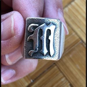 Gothic letter M signet ring, size 8